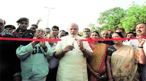 Chief Minister Narendra Modi inaugurates a flyover at IIM-A in Ahmedabad on Monday. (Javed Raja)