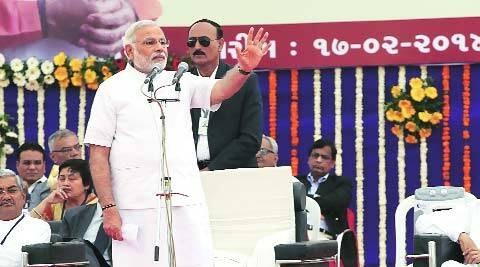 Narendra Modi in Rajkot on Monday. (Express)