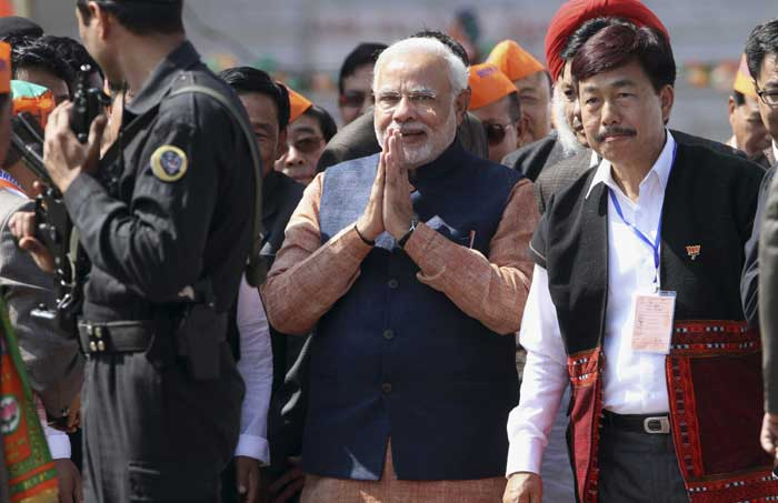 """Thousands of people from this region go out to serve this land in different states. They must be protected. They must be provided security,"" said Modi, as he lauded the patriotic nature of the people from the state. Referring to mythology to link Arunachal with Gujarat, he said, ""My relationship with you people is several thousand years old, dating back to when Lord Krishna came all the way from Dwarka (Gujarat) to marry Rukmini from here (Arunachal). I have only come to strengthen this relationship of east and west. In India, the sun rises here and sets in my state."" (AP)"
