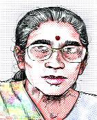 A sketch of the woman who still claims to be Modi's wife.