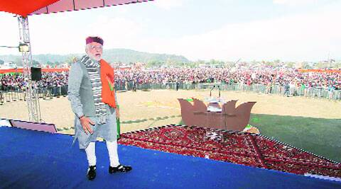 Narendra Modi at Sujanpur rally, near Hamirpur, Sunday. 	Lalit Kumar