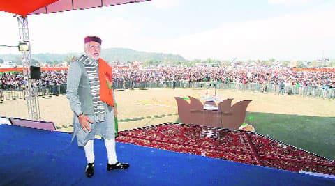 Narendra Modi at Sujanpur rally, near Hamirpur, Sunday. Lalit Kumar