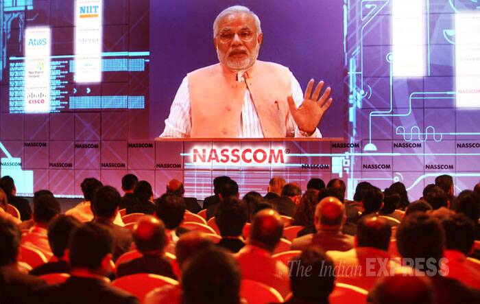 Favouring reduced dependence on imports, particularly, of electronic items, BJP's prime ministerial candidate Narendra Modi today said there should be focus on manufacturing sector along with services to tide over the mismatch as also to ensure better inclusive growth. (IE Photo: Pradip Das)