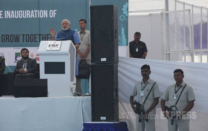 The participants range from automobile sector to Information Technology to realty. Narendra Modi batted for all-round development and said Gujarat's inherent quality is its entrepreneurial society. (IE Photo: Javed Raja)