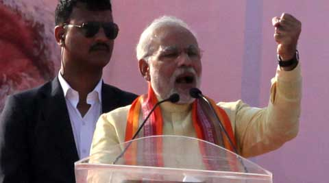 In Bengal, Narendra Modi said that time has come to bid farewell to Third Front forever. (IE Photo: Subham Dutta)