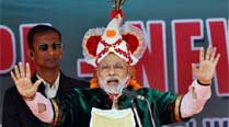 BJP Prime Ministerial candidate Narendra Modi addresses a public meeting in Imphal. (PTI)