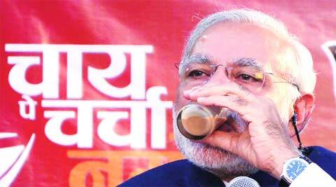 Narendra Modi sips between statements from an Ahmedabad tea stall.(Javed Raja)