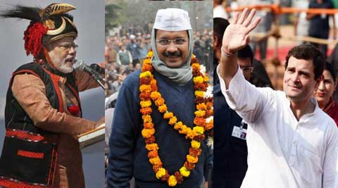 Modi, Rahul and Kejriwal addressed rallies on Sunday.