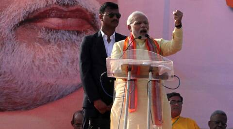 "Modi's ""Janachetana Sabha"" was attended by an impressive 2-lakh-plus people. (IE Photo: Subham Dutta)"