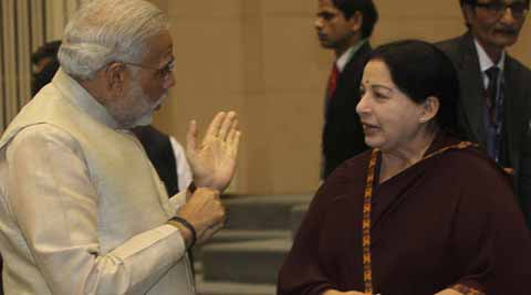 Gujarat Chief Minister Narendra Modi with his Tamil Nadu counterpart J Jayalalithaa in an earlier photo.