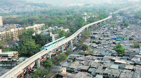 A monorail on its maiden journey on Saturday. The first phase has been constructed at a cost of Rs 1,100 crore.