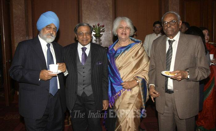 Releasing the book, Finance Minister P Chidambaram said that with more than 40 per cent of Indians expected to live in cities within a decade, improving the living standards in urban areas would be a key to improve the quality of life for all Indians. <br /> Montek Singh Ahluwalia along with wife Isher Judge Ahluwalia at the book launch. (IE Photo: Amit Mehra)