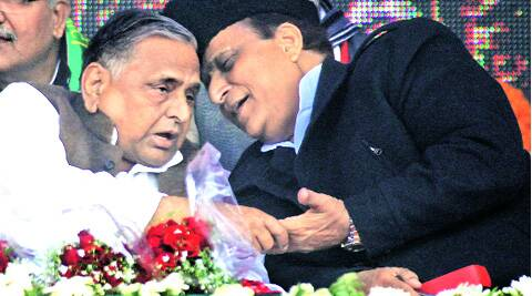 SP chief Mulayam Singh Yadav with party leader and state Cabinet minister Azam Khan at a rally in Gonda, UP, on Monday. (Vishal Srivastav)