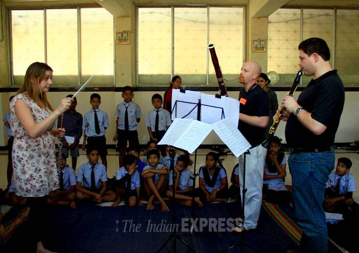 Musicians of the Symphonic Orchestra of India during a special western music workshop for school children in Mumbai on Thursday. (IE Photo: Amit Chakravarty)