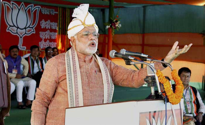"In Arunachal, which has two Lok Sabha seats, Modi also tried to strike a chord by referring to the recent death of a student from the state in Delhi. ""Nido Taniam was not just a son of Arunachal, he was India's son who was brutally murdered in the national capital. I have come with a heavy heart. I cannot look in your eyes, nor do I have the courage to raise my head to seek an apology for that incident,"" he said. (AP)"