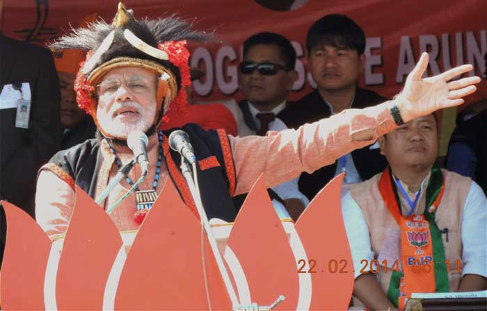 "Stating that ""Arunachal Pradesh is an integral part of India and will always remain so"", Modi said, ""Saugandh mujhe iss mitti ki, mein desh mitne nahin doonga, mein desh tootne nahin doonga, mein desh jhukne nahin doonga (I swear by this land that I will not let this country be destroyed, divided or bow down)."" (AP)"