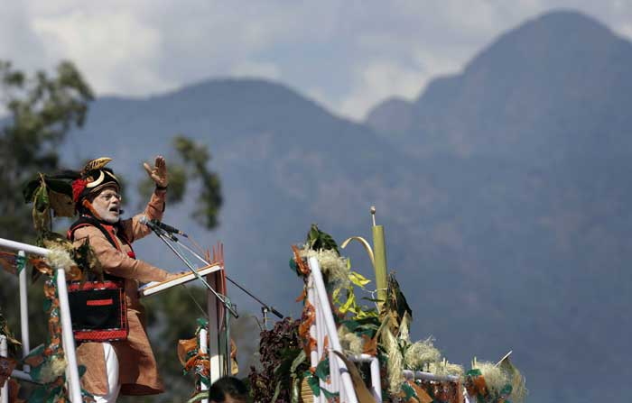 "BJP prime ministerial candidate Narendra Modi on Saturday warned China against repeatedly staking claim over Arunachal Pradesh and asked it to give up its ""expansionist attitude"". (AP)"