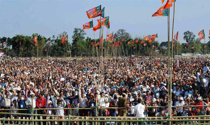 "Modi also referred to Hindus being ""harassed"" in other countries. ""Where will Hindus harassed in Fiji go? Where will those harassed in Mauritius go? Where will those harassed in the US go? Naturally they will have to come to India,"" he said. The Barak Valley in south Assam, which includes two Lok Sabha seats, has a sizeable Hindu population of Bangladeshi origin. With an eye on this vote bank, Modi appealed to the Election Commission to immediately remove the tag of ""doubtful"" voters from all Hindu names in Assam's electoral rolls. ""Those debarred from casting votes by putting a ""D"" prefix in the electoral rolls must be given back their right to vote,"" he said. (AP)"