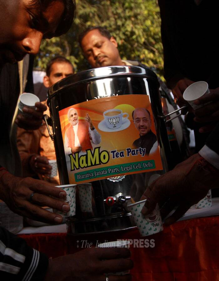 Few days back a similar 'tea party' was organised at Safdarjung Club by BJP leaders where they held interactive sessions with the people in a bid to popularise the message and aims of its Narendra Modi. (IE Photo: Prem Nath Pandey)