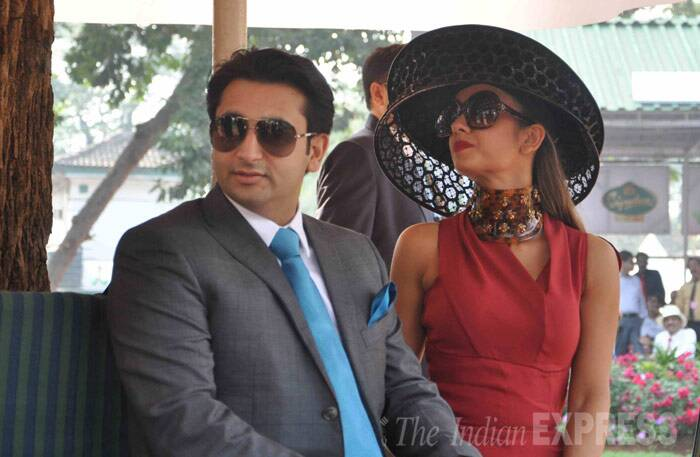 Socialite Natasha Poonawala was stylish in a burgundy dress with a statement necklace and over sized hat. (Photo: Varinder Chawla)