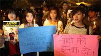 Students from Northeast protesting at Jantar Mantar against racism and death of Nido Tania in New Delhi. (PTI)
