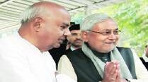 Deve Gowda and Nitish Kumar in Delhi on Monday. (Renuka Puri)