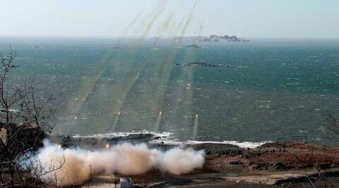 North Korea fired short-range missiles to protest against ongoing U.S.-South Korean military. (Reuters)