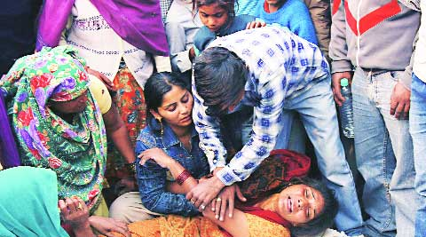 Grieving relatives outside ESI Hospital in Sector-24, Noida  on Tuesday.Gajendra yadav