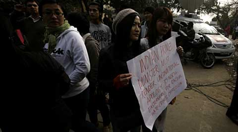 The demonstrators raised anti-police slogans and also tried to barge into the police station. (IE Photo: Praveen Khanna)