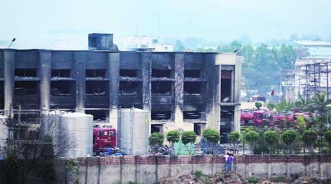 The factory at Baddi after the fire on Tuesday. Jaipal Singh