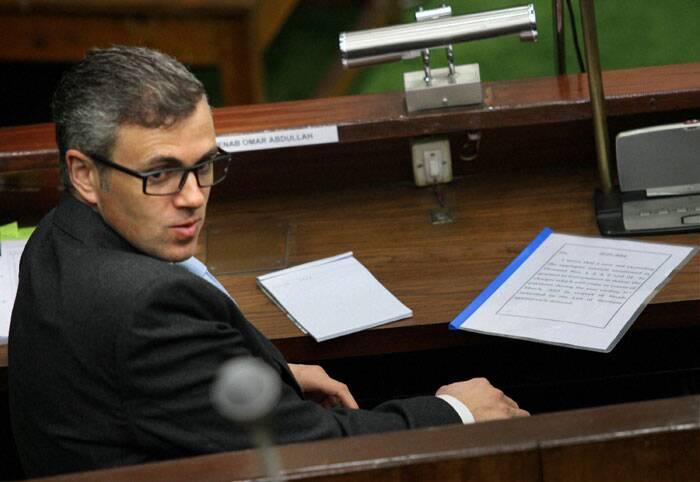 Chief Minister Omar Abdullah in the J & K Assembly in Jammu on Saturday. (PTI)