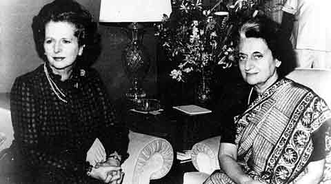 Margaret Thatcher with Indira Gandhi in New York on September 3, 1983. Express Archive