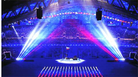The Russian flag being raised during the opening ceremony of the Sochi Winter Olympics Friday. (REUTERS)