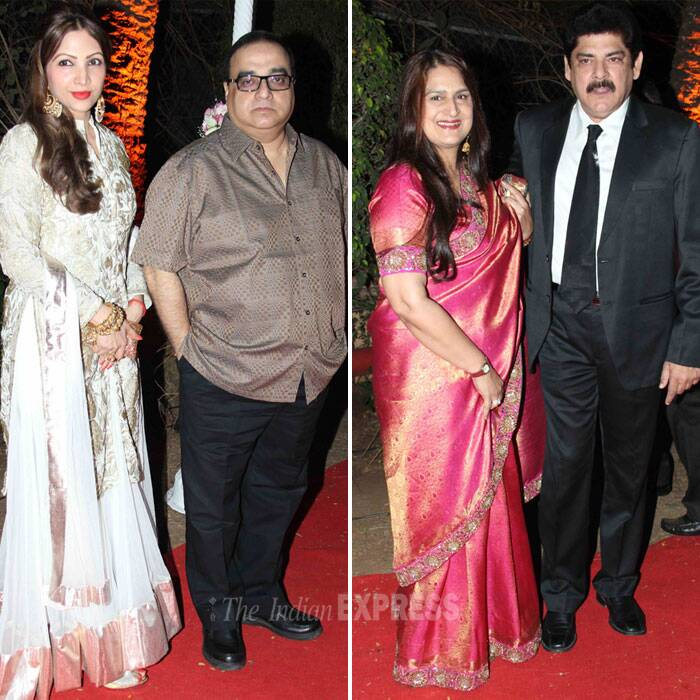 Filmmaker Rajkumar Santoshi along with his wife Manila and television actor Pankaj Dheer with his wife. (Photo: Varinder Chawla)
