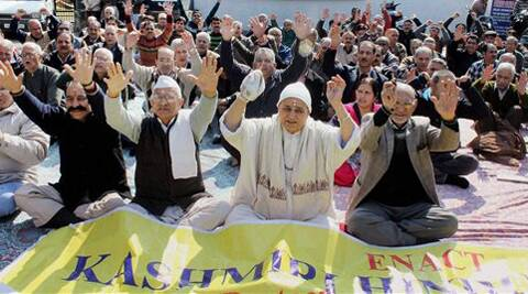 File photo: Members of the Kashmiri Pandit Community shouting slogans during a demonstration to press for their demands in Jammu.
