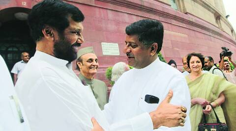 Paswan with BJP leader Ravi Shankar Prasad: The LJP chief quit NDA in 2002 over the Gujarat riots