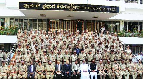 Chief Minister Siddaramaiah, Home Minister K J George and Chief Secretary Kaushik Mukherjee at the Karnataka state senior police officers' conference at the DGP office in Bangalore Tuesday.
