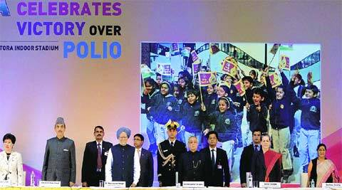 President Pranab Mukherjee, PM Manmohan Singh and UPA chairperson Sonia Gandhi at a function to celebrate polio eradication on Tuesday. (PTI)