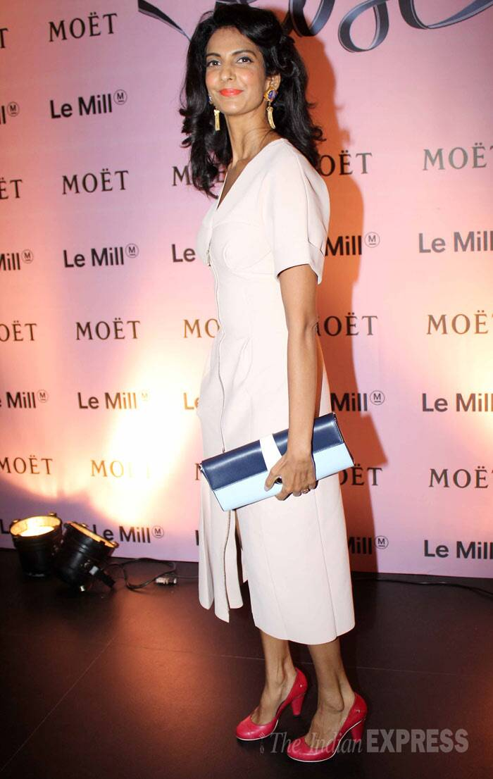 'Delhi Belly' actress Poorna Jagannathan was classy in a pale Dior dress with contrasting pumps and a colour block clutch by Ferragamo. (Photo: Varinder Chawla)