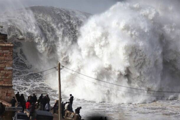 In Portugal, the waves get a bit too close for comfort