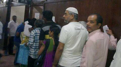 People standing in a queue  at the first floor of Mantralaya to submit their forms.