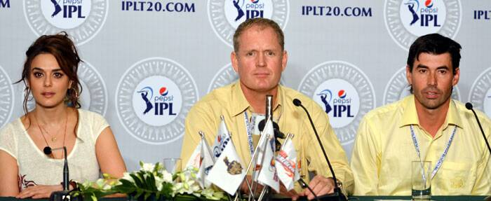 Kings XI Punjab owner Preity Zinta with Tom Moody of Sunrisers Hyderabad and Stephen Flemming of Chennai Super Kings addressing the media at the IPL 2014 Auction in Bangalore. (IE Photo)