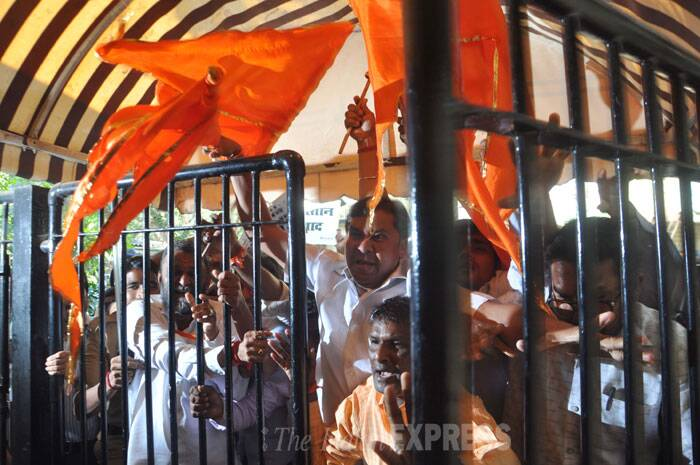 Twenty Shiv Sena activists, include three women, were arrested and charged with rioting, trespass and preventing public servant from discharging duty. The activists stormed the conference hall at the Mumbai Press Club, heckled the artistes from both countries and overturned chairs before the start of media briefing. (IE Photo: Gaensh Shirsekar)