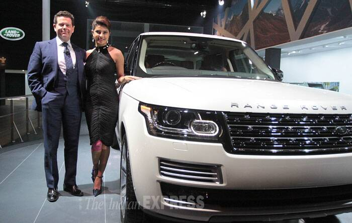 "The 'Gunday' actress tweeted from the venue, ""Just unveiled the stunning Land Rover LWB at #JLRAE2014!What a beauty she is-sleek & powerful!check it out @JLRIndia."" (IE Photo: Tashi Tobgyal)"