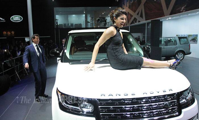 Priyanka poses at the Auto Expo for the new Range Rover. (Photo: Tashi Tobgyal)