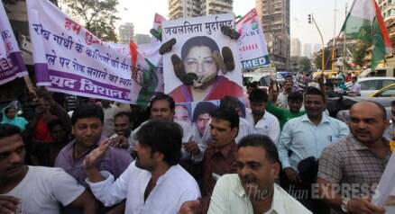 Congress workers hold protest against Tamil Nadu CM