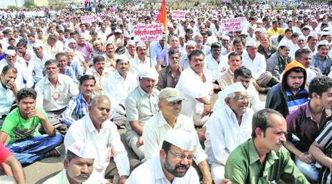 An action committee staged a dharna on the issue on Thursday. (Express Photo)