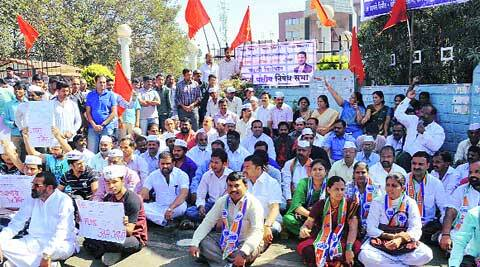 A rally to protest Pardeshi's transfer.