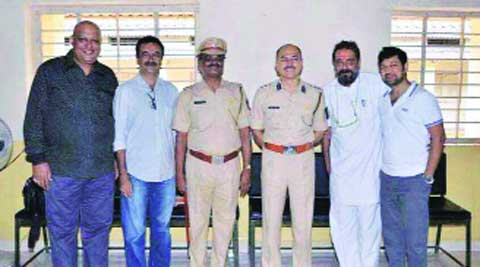 This photo of Sanjay Dutt, Rajkumar Hirani, Marathi actor Rahul Solapurkar, Jail Superintendent Yogesh Desai & Senior Jailer Chandrakant Awale had appeared in media last year.file