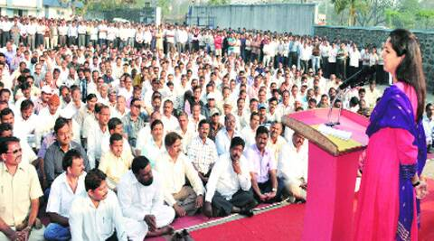 NCP MP Supriya Sule addresses employees of Hindustan Antibiotics on Monday.(Rajesh stephen)